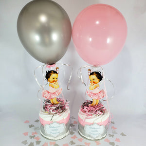 Pink & Silver Little Princess Mini Diaper Cakes, Brunette