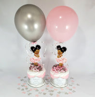 Pink & Silver Little Princess Mini Diaper Cakes, Afro