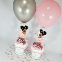 Pink and Silver Little Princess Mini Diaper Cakes
