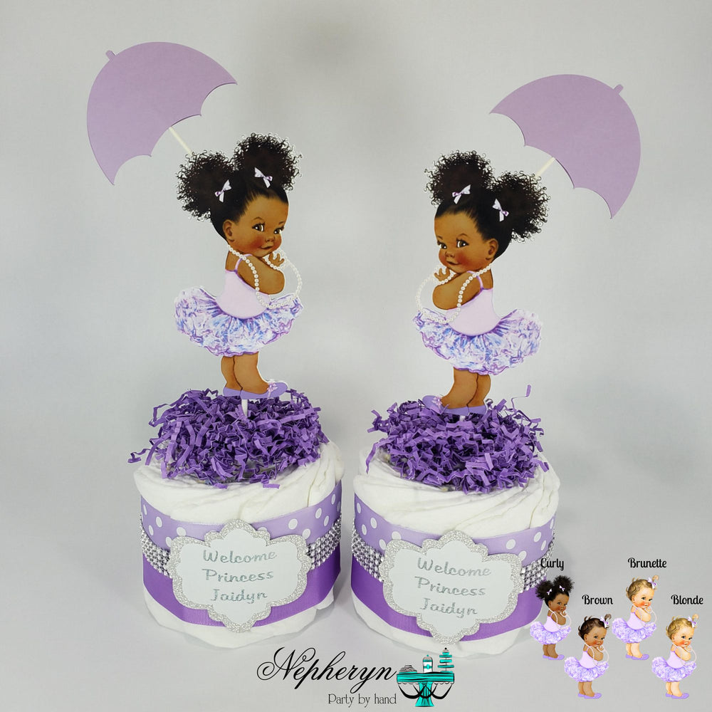 Lavender and Silver Girl Baby Shower Diaper Cakes