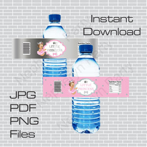 Pink and Silver Little Princess Water Bottle Labels, Brunette