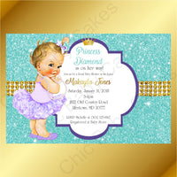 Purple & Teal Little Princess Baby Shower Invite, Blonde
