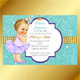 Little Princess Invitation - Purple, Teal, Gold