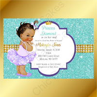 Purple & Teal Little Princess Baby Shower Invite, Brown