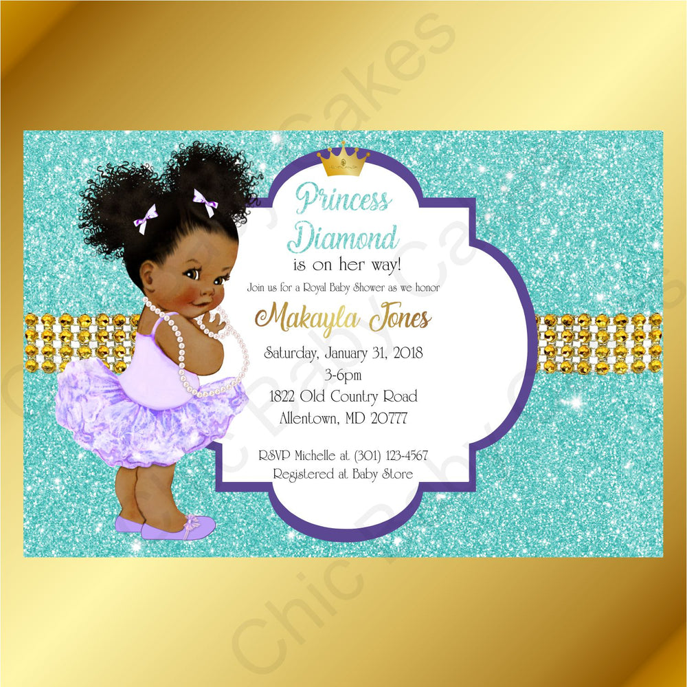 Purple & Teal Little Princess Baby Shower Invite, Afro