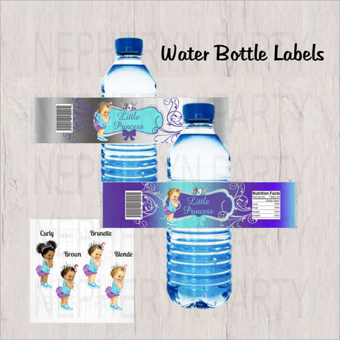 Purple, Teal, and Silver Little Princess Water Bottle Labels