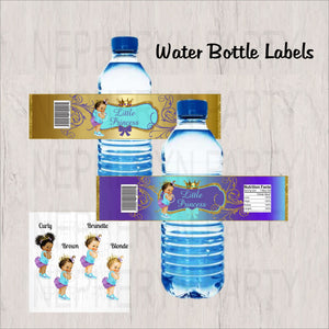 Purple, Teal, and gold Little Princess Water Bottle Labels, Brown