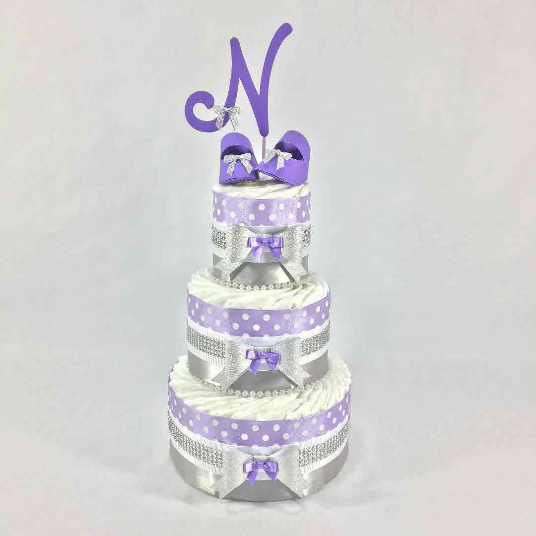Lavender & Silver Girl Diaper Cake Centerpiece   Chic Baby Cakes