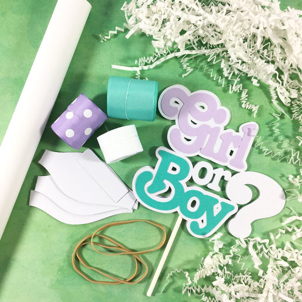 Lavender and Teal Gender Reveal Diaper Cake Kit