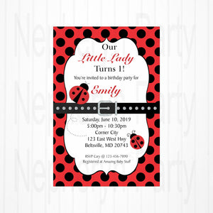 Red & Black Little Ladybug 1st Birthday Invite