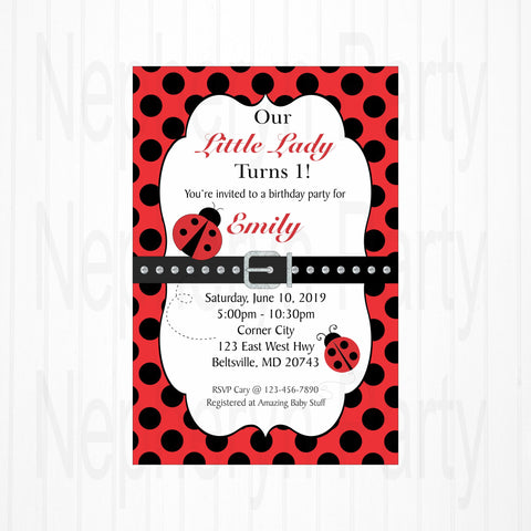 Little Ladybug Birthday Invite