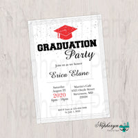 Red and Black Graduation Party Invitation