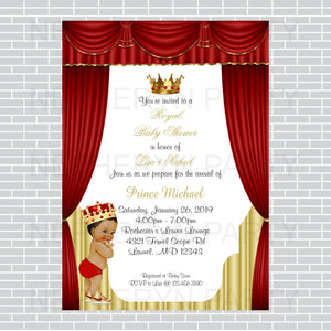 Red and Gold Little Prince Baby Shower Invite, Brown