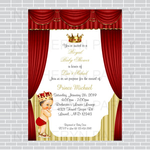 Red and Gold Little Prince Baby Shower Invite, Brunette