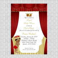 Red and Gold Little Prince Baby Shower Invite, Curly