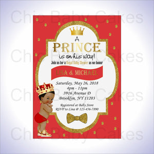 Red & Gold Little Prince Baby Shower Invite