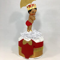 Baby Boy Diaper Cake Centerpieces, Red, Gold Prince