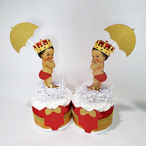 Red and Gold Little Prince Mini Diaper Cakes