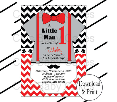 Little Man Invites - Red, Gray, Black