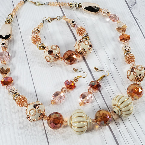 Rose Gold ad Cream Glass Beaded Jewelry Set