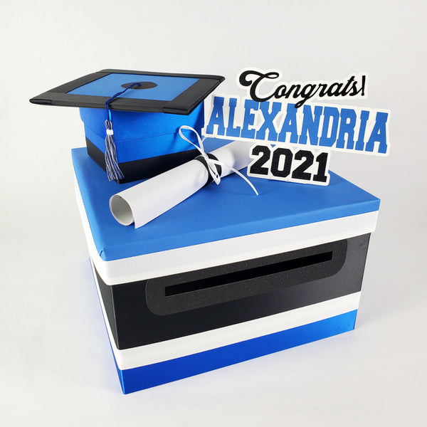 Royal Blue & Black Graduation Card Box