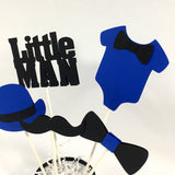Little Man Centerpiece Sticks - Royal Blue, Black