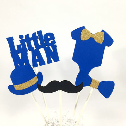 Little Man Centerpiece Sticks - Royal Blue, Gold