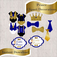 Royal Blue & Gold Little Prince Clipart Decorations
