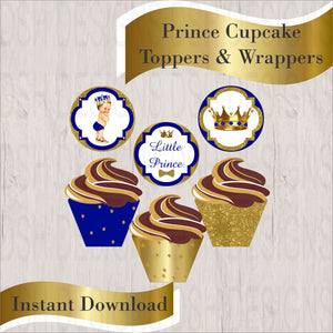 Royal Blue & Gold Little Prince Cupcake Toppers & Wrappers