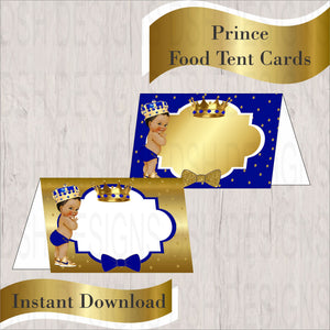 Royal Blue & Gold Little Prince Food Tent Cards