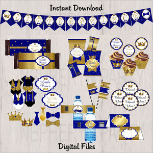 Royal Blue & Gold Little Prince Decoration Pack, Instant Download