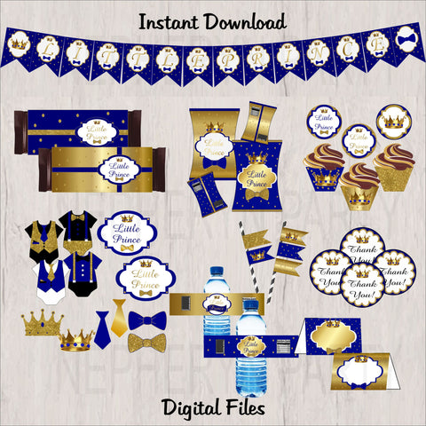 Little Prince Party Decorations Pack - Royal Blue, Gold