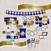 Royal Blue & Gold Little Prince Decorations, Blonde