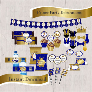 Royal Blue & Gold Little Prince Decorations, Brown