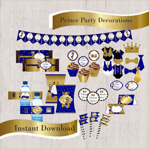 Royal Blue & Gold Little Prince Decorations, Curly