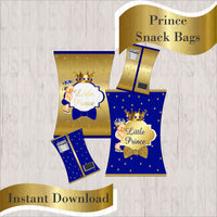 Royal Blue & Gold Little Prince Chip Bags, Brunette