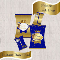 Royal Blue & Gold Little Prince Chip Bags, Curly
