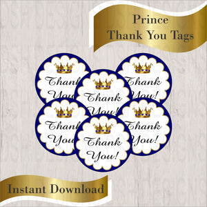Royal Blue & Gold Little Prince Thank You Tags