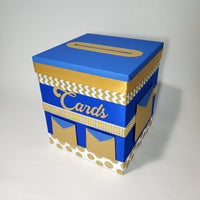 Royal Blue & Gold Prince Baby Shower Card Box