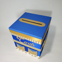 Prince Baby Shower Card Box - Blue, Gold