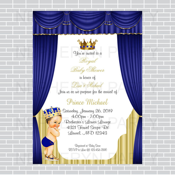 Royal Blue and Gold Little Prince Invite, Brunette