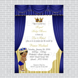 Royal Blue and Gold Little Prince Baby Shower Invite