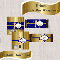 Royal Blue & Gold Little Prince Candy Bar Wrappers