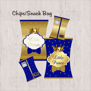 Royal Blue & Gold Little Prince Chip Snack Bags