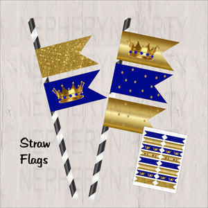 Royal Blue & Gold Little Prince Straw Flags