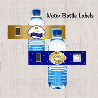 Royal Blue & Gold Little Prince Water Bottle Labels