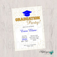 Blue and Gold Graduation Party Invite