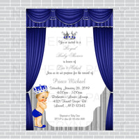Royal Blue and Silver Little Prince Baby Shower Invite, Blonde