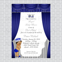 Royal Blue and Silver Little Prince Baby Shower Invite, Brown