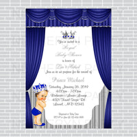 Royal Blue and Silver Little Prince Baby Shower Invite, Brunette
